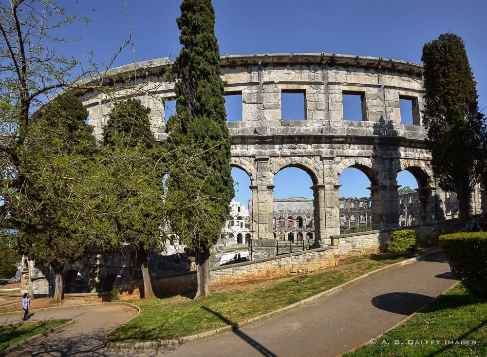 View of the Roman Arena in Pula, one of Croatia's most photogenic sites