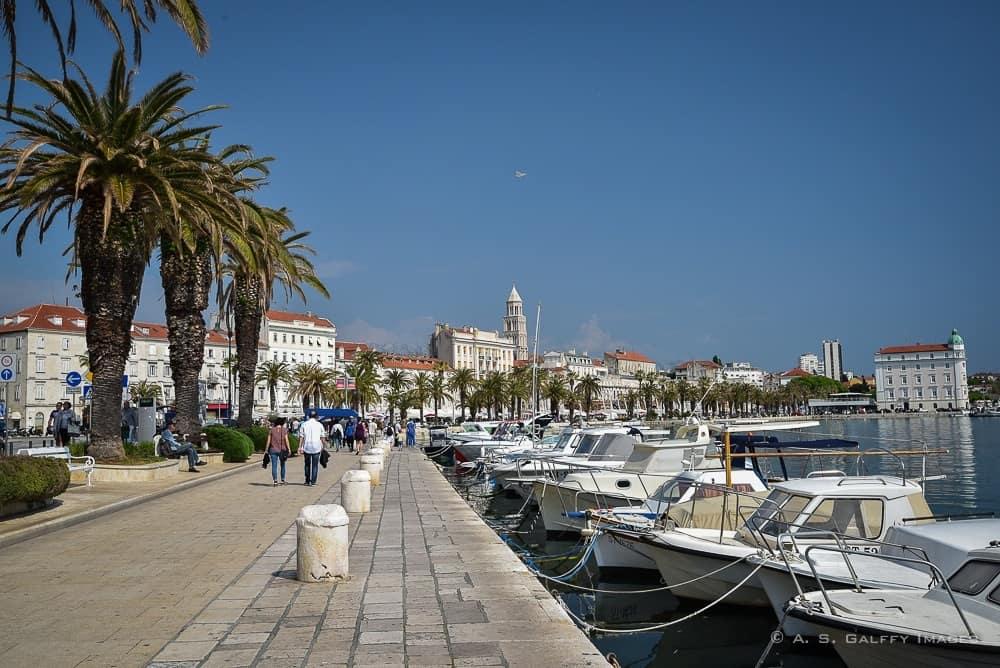 Boats docked near the waterfront promenade in Split