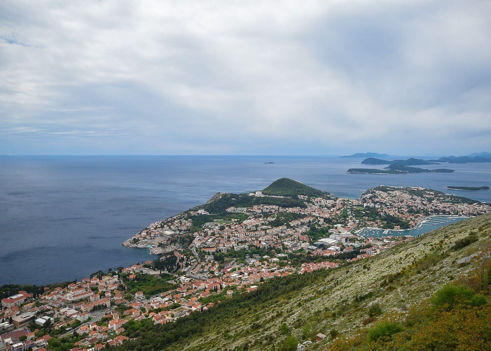 View of old town Dubrovnik from Mount Srd