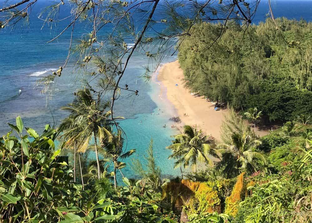 View of Ke'e Beach on the North Shore of Kauai