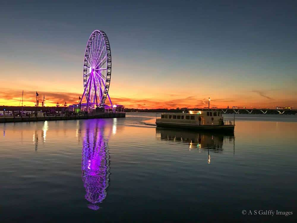 Sunset on the waterfront at the National Harbor