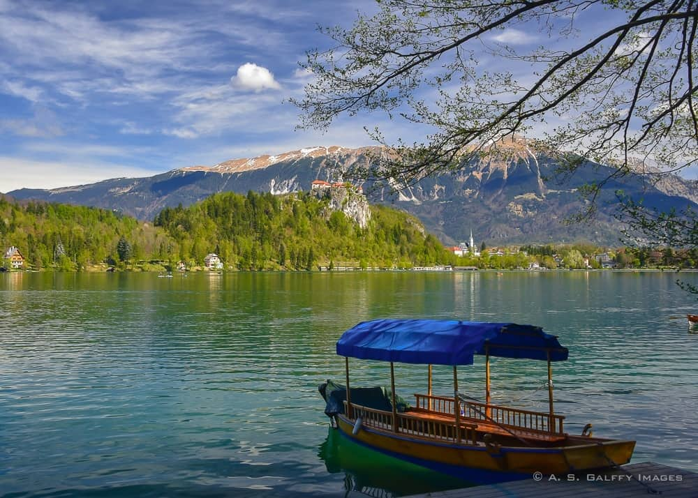 View of a pletna boat on Lake Bled