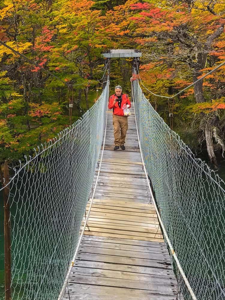 Crossing a bridge at Lago del Desierto a few km away El Chalten