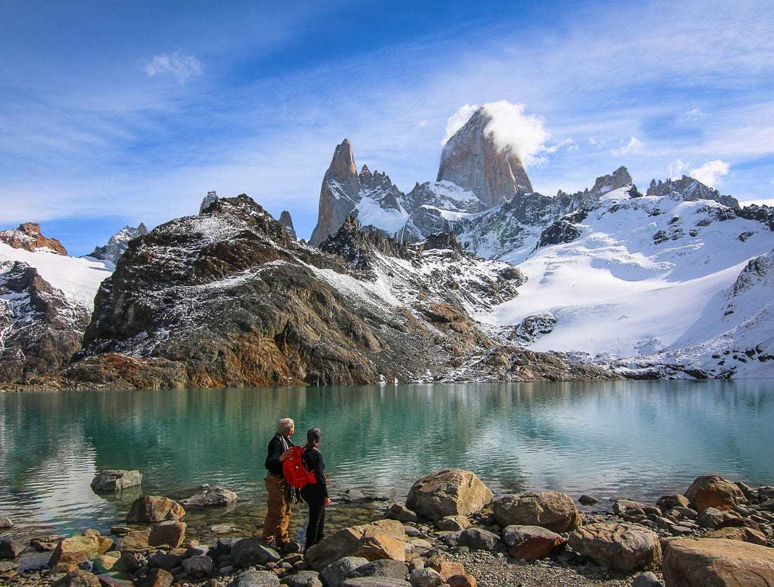 Looking at Mt FitzRoy at Laguna de Los Tres