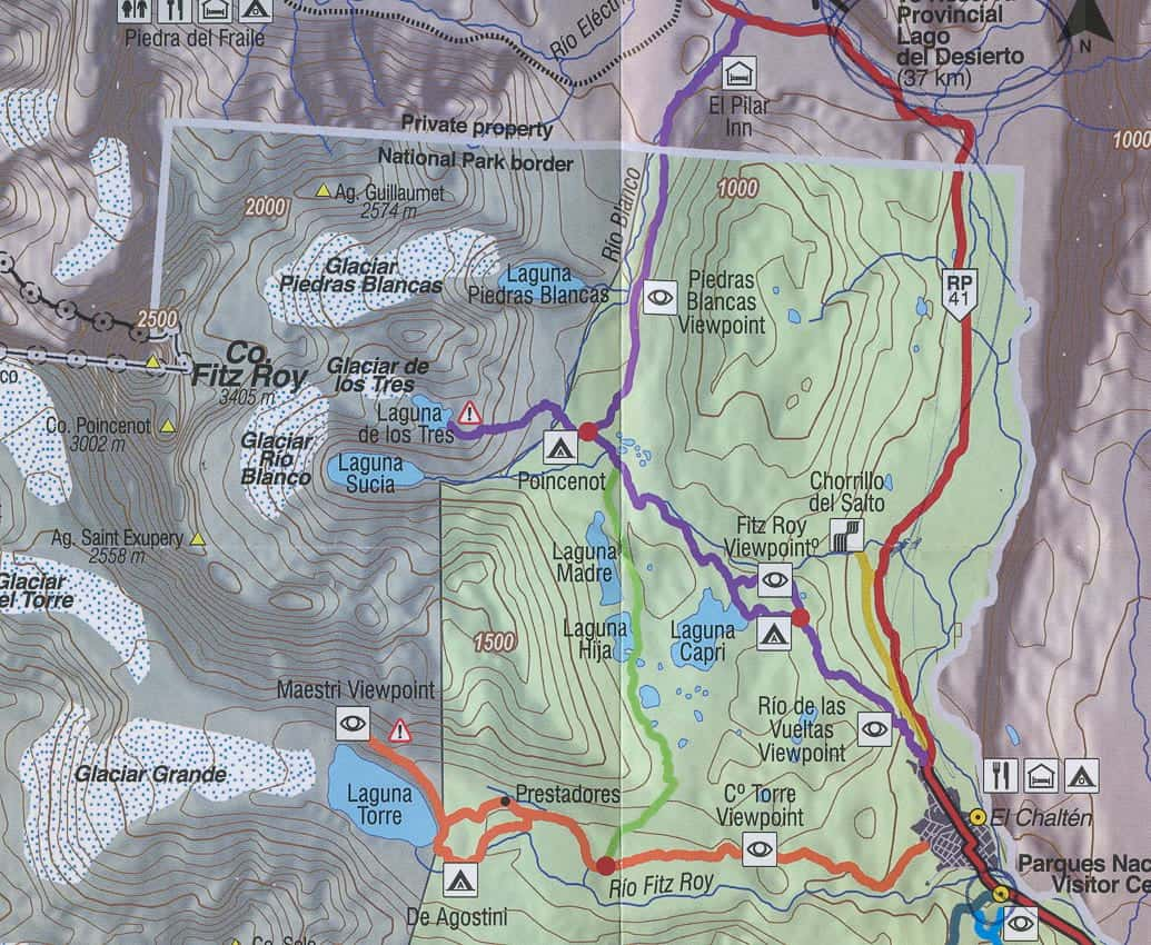 Map of the hike to Laguna de Los Tres