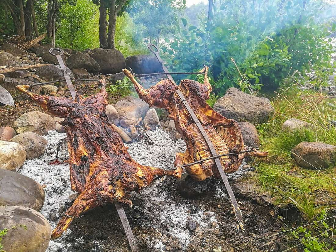 Eating Patagonia roasted lamb in El Chalten