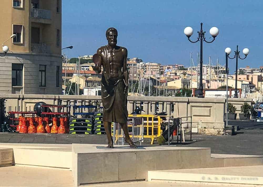 Archimede's statue on Ortigia Island, Sicily