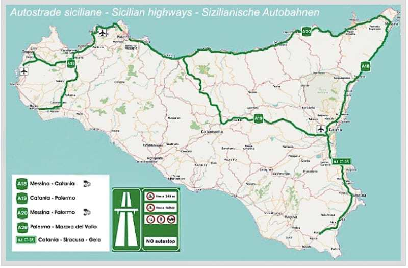 Sicilian highways map for visiting Sicily by car