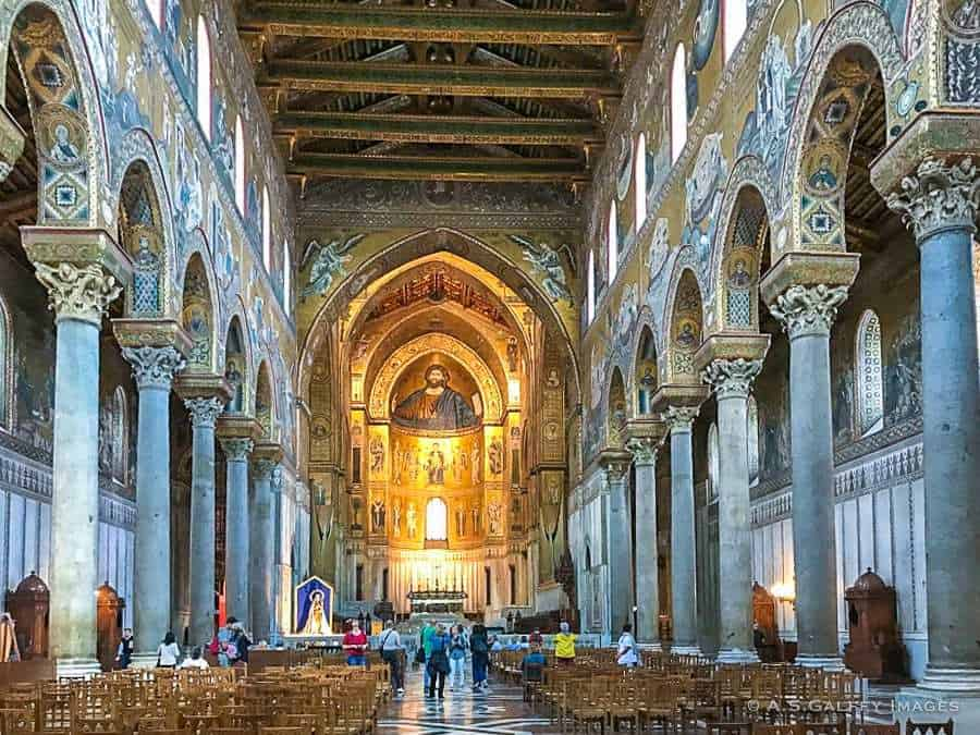 The interior of Monreale Cathedral - top towns in Sicily
