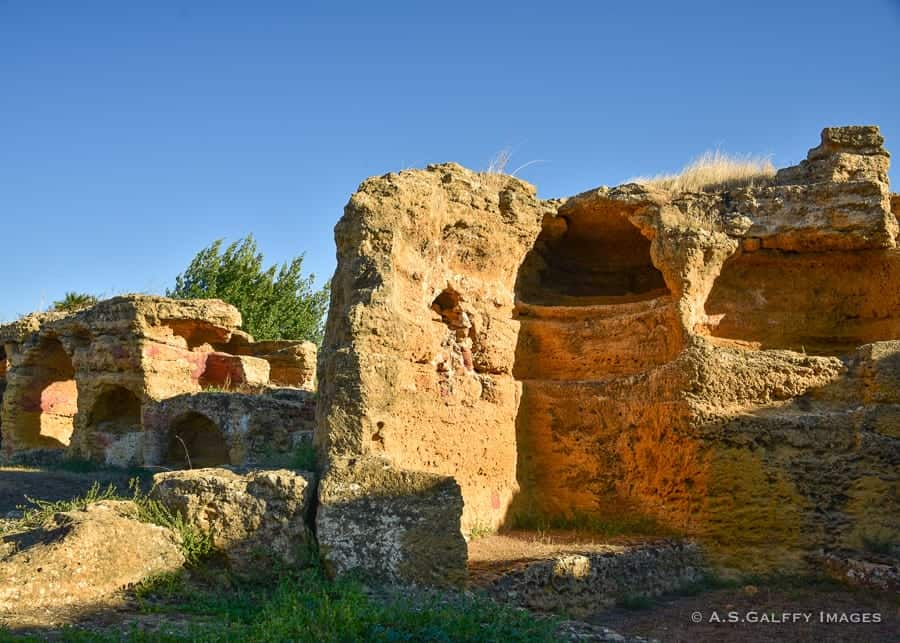 Burial holes at he Valley of the Temples, Sicily