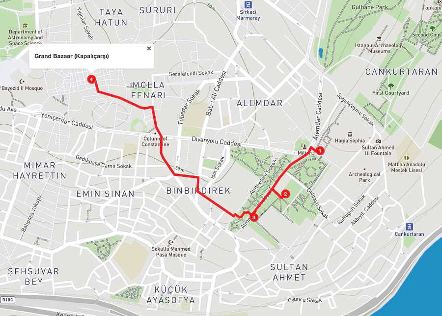 3 days in Istanbul - day 1 itinerary map