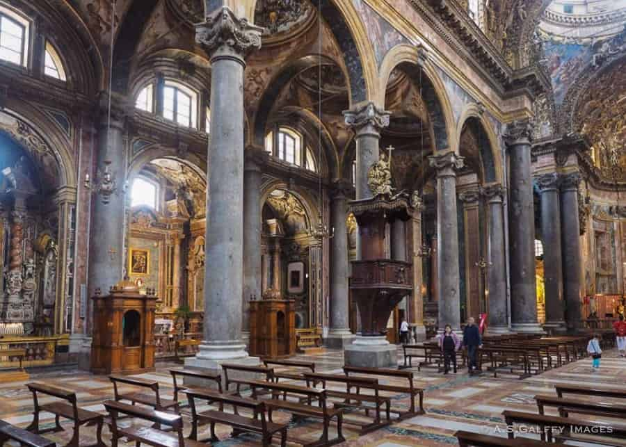 Exterior and interior view of San Giovanni Church in Palermo