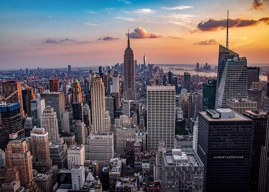 Birdeye view of New York City downtown