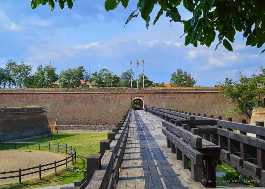 The old walls of Alba Iulia fortress in Romania