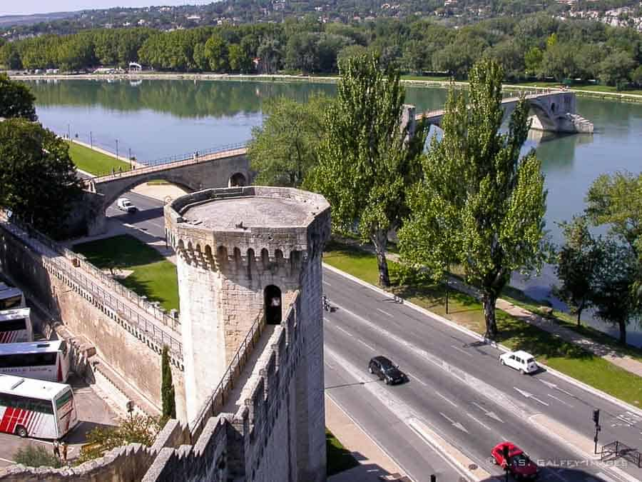 View of Pont d'Avignon from the old ramparts
