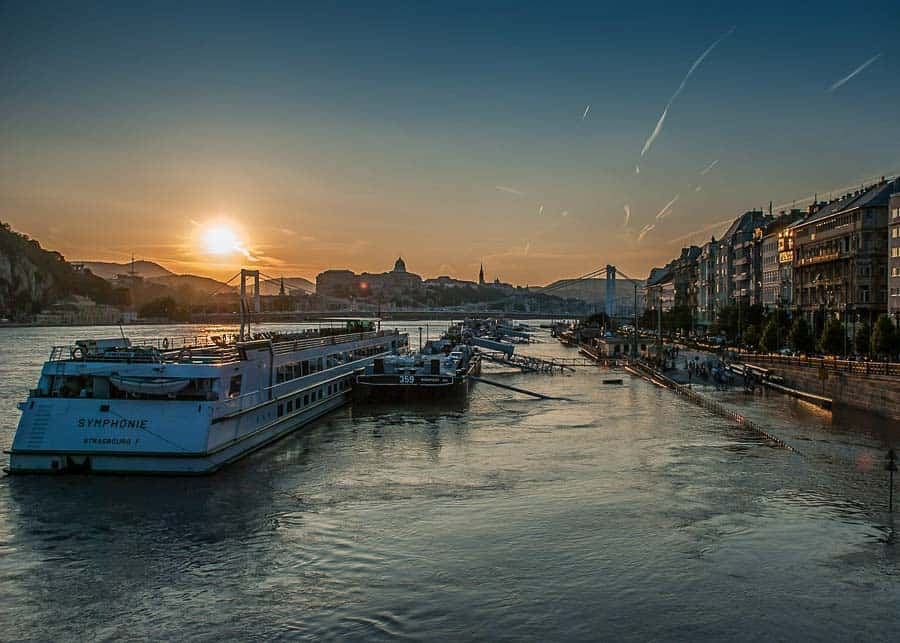 Boats on the Danube River in Budapest