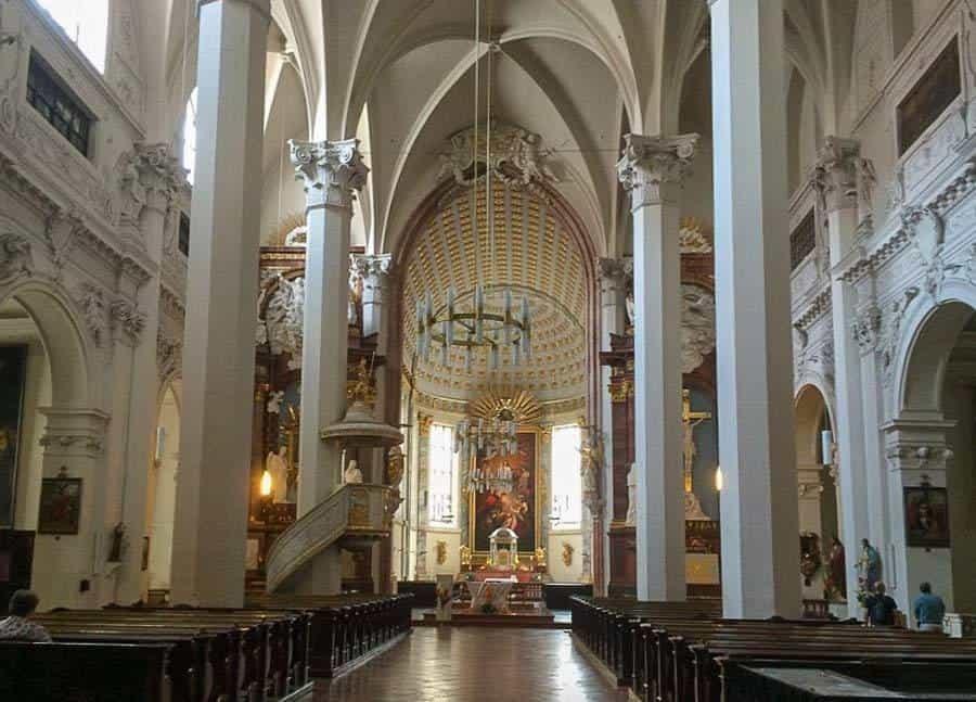 The bright interior of Church Am Hof in Vienna