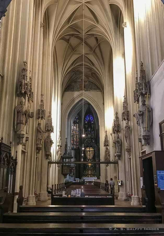 Interior view of Maria am Gestade church in Vienna