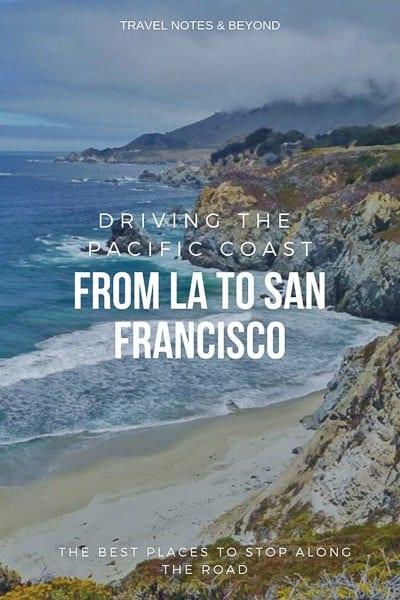 Los Angeles TO San Francisco drive pin