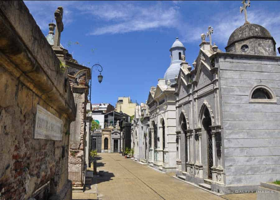 Alley with mausoleums in the Recoleta Cemetery