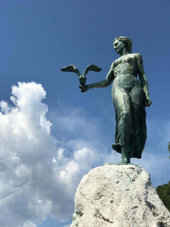 The Maiden with the Seagull statue in Lungomare