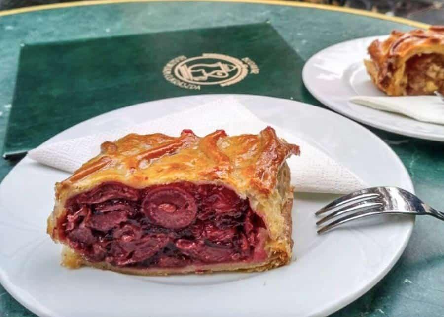 Sour cherry Strudel Hungarian dessert