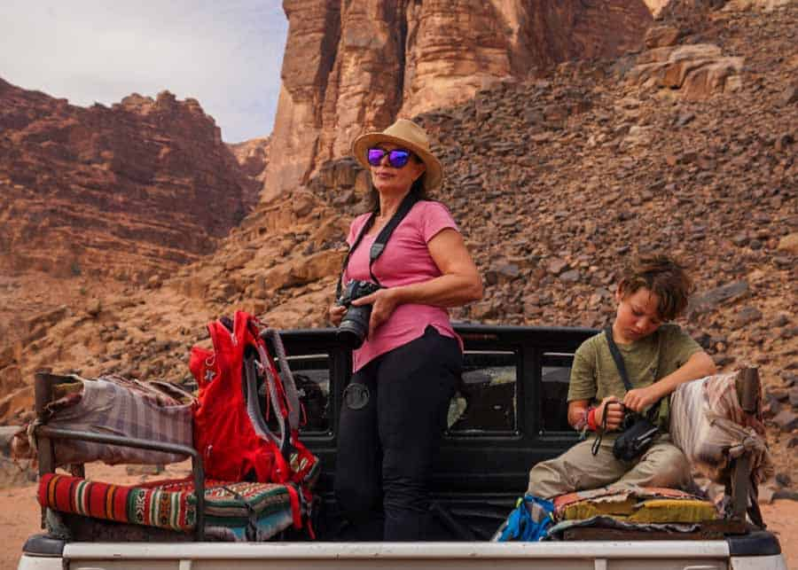 Riding the jeep in the Wadi Rum desert