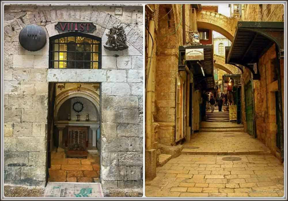 Walking on Via Dolorosa on a trip to Jerusalem