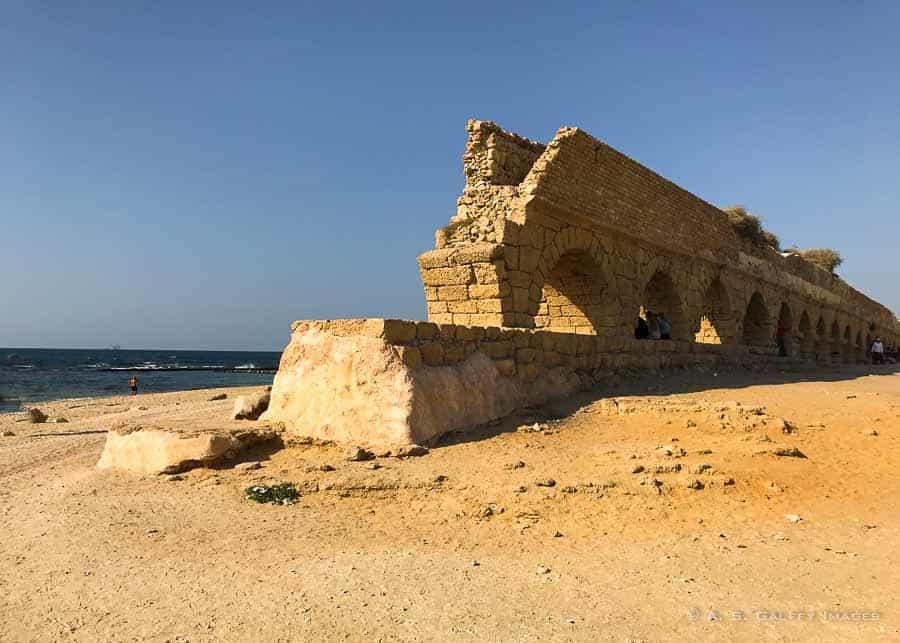 Roman aqueduct next to Caesarea