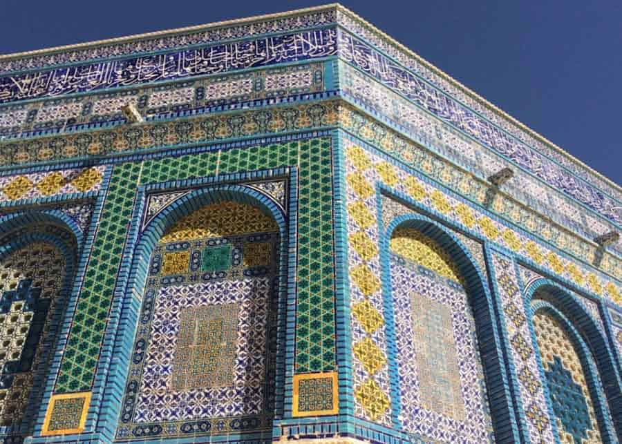 Mosaic embellishments on the Dome of the Rock