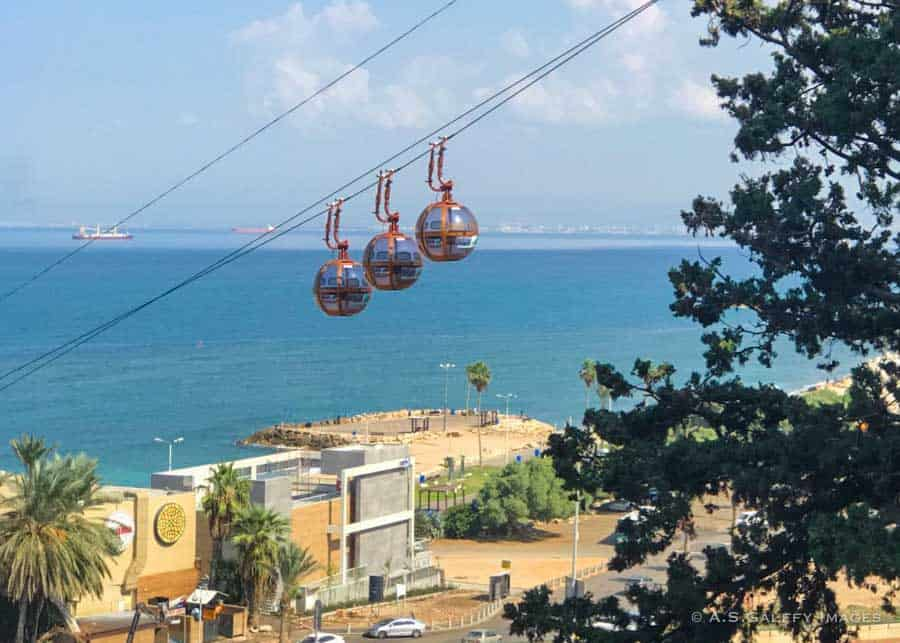 Cable car to the beaches in Haifa