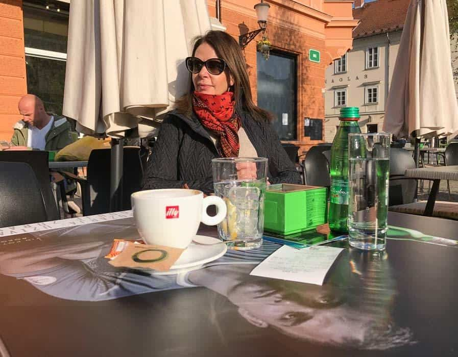 Sitting at a café in Ljubljana