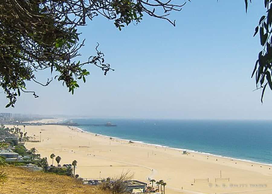 Santa Monica Beach seen when driving from LA to San Francisco