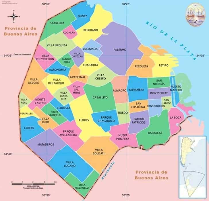 Buenos Aires Neighborhoods map