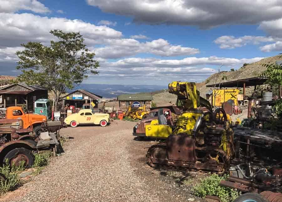 antique car collection at the Gold King Mine