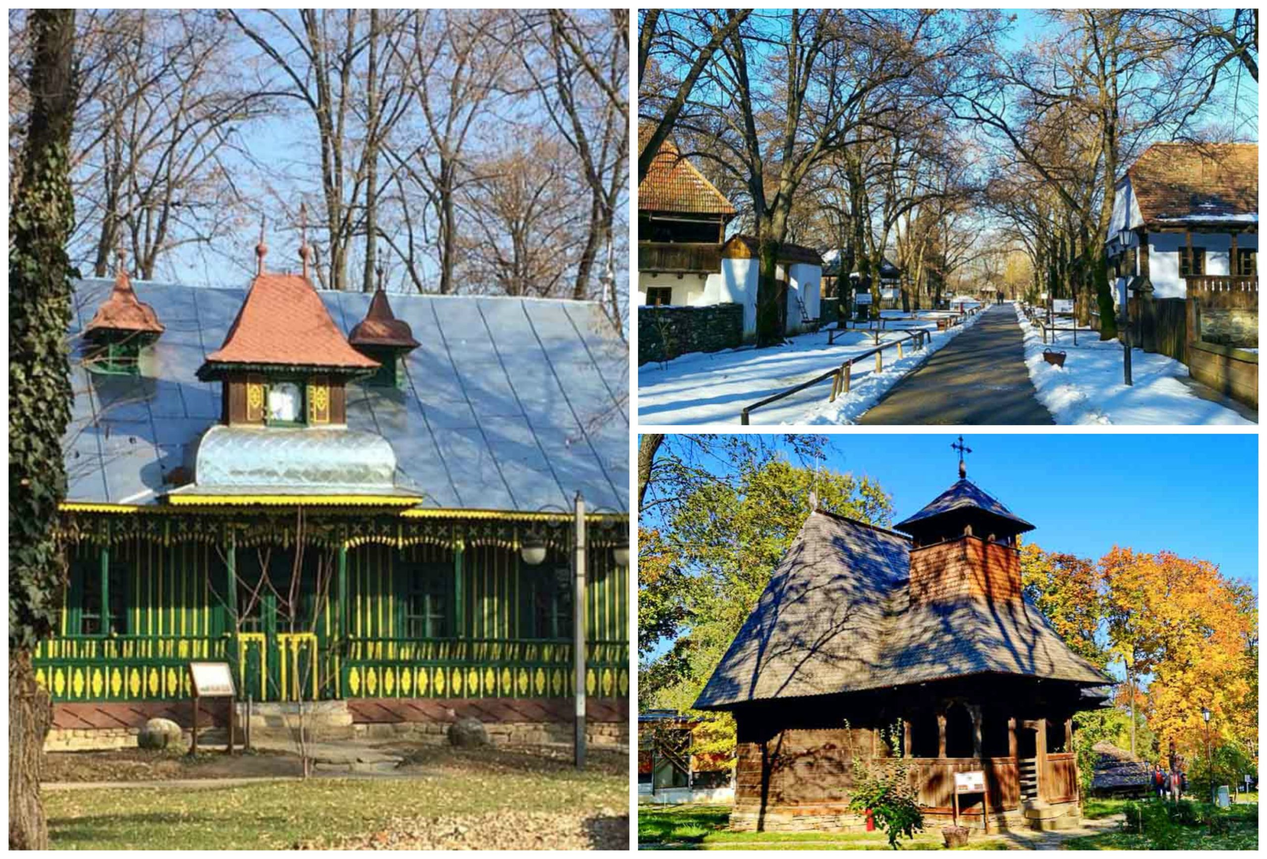 Bucharest Village Museum during different seasons