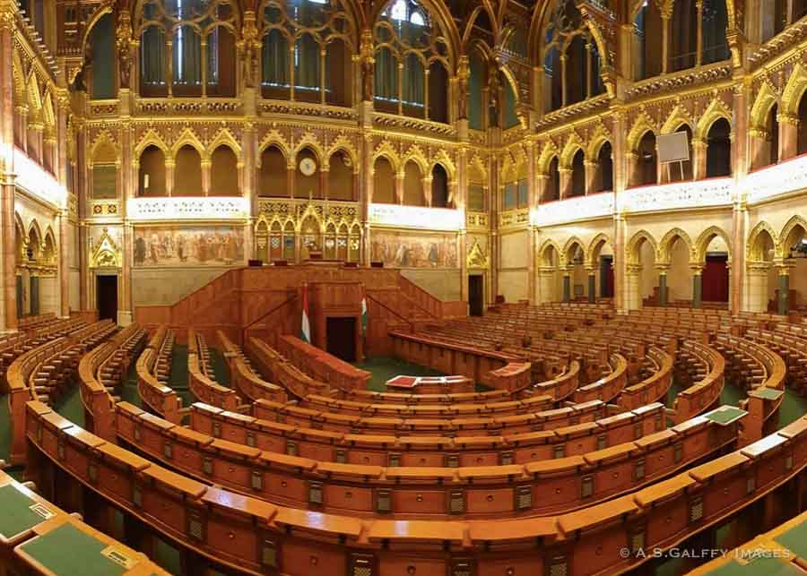 National Assembly Room at the Hungarian Parliament in Budapest