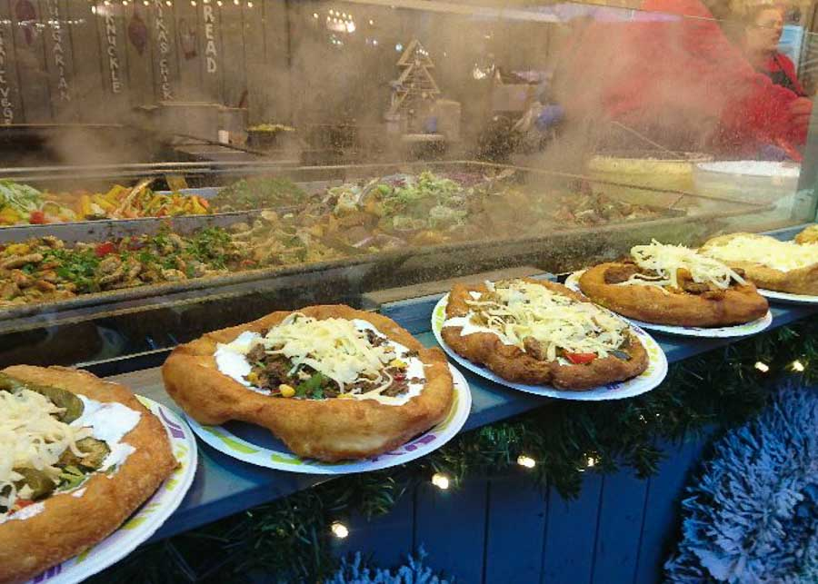Langos, a delicious Hungarian food in Budapest