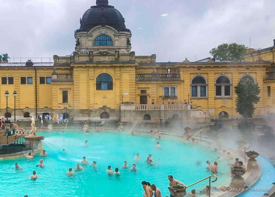 soaking in the Szechenyi Baths in Budapest in winter