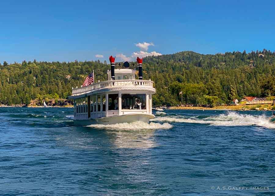 taking a boat tour on Lake Arrowhead