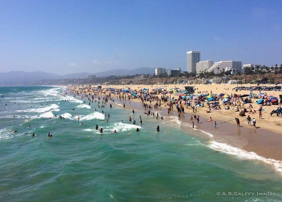 People sunbathing on Santa Monica Beach