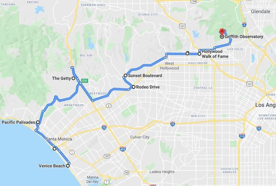Map for spending one day in LA