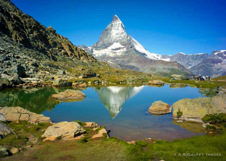 Mountain lake with view of the Matterhorn in the background