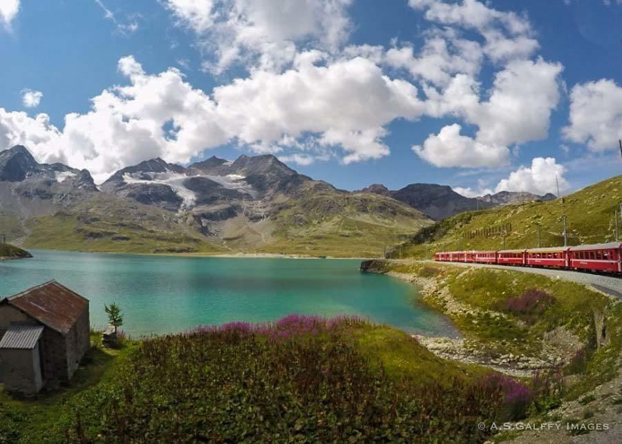 Beautiful scenery along the Bernina Express route