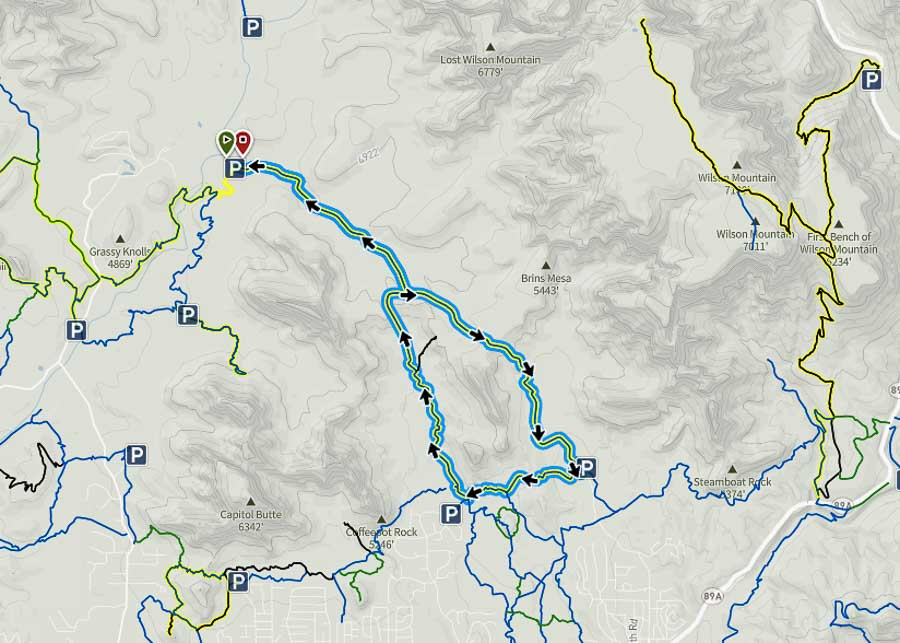 Map of the Brins Mesa - Soldier's Pass Trail Loop