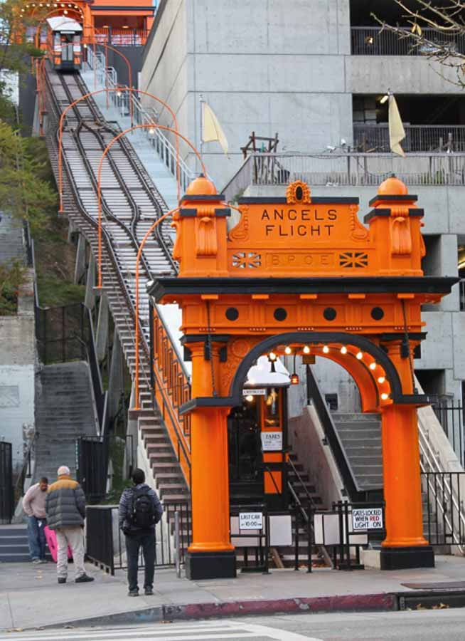 Visiting Angels Flight in Downtown Los Angeles on a self guided walking tour