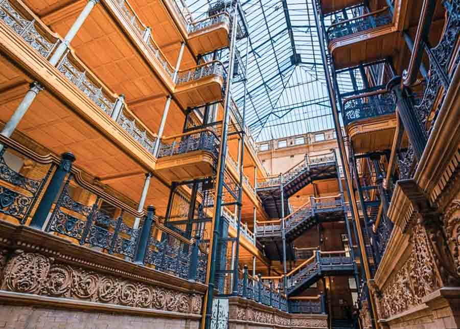 Self guided walking tour of the Bradbury Building in Downtown Los Angeles