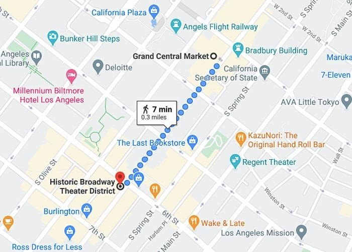 Los Angeles Broadway Historic Theater District Map.