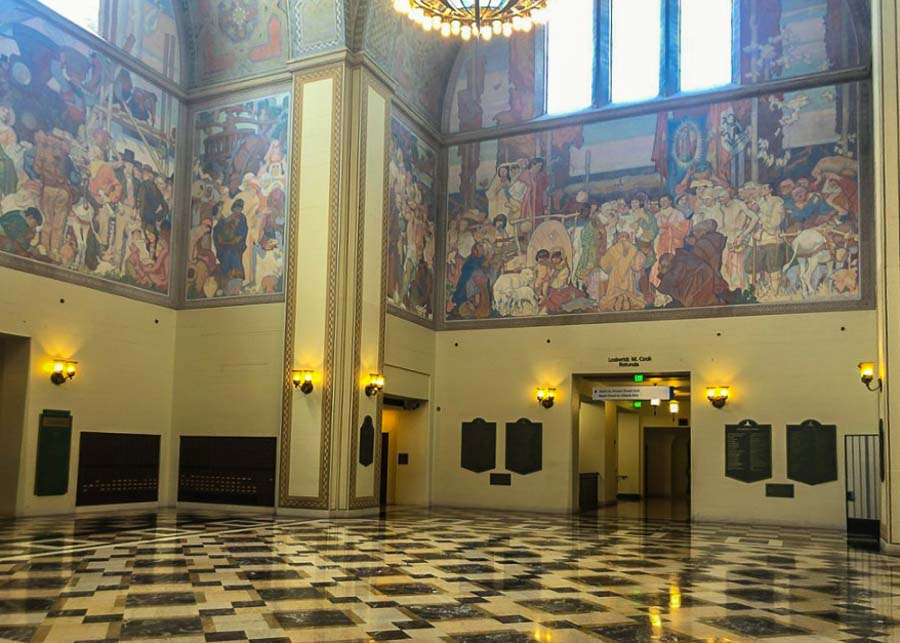 Visiting the L.A. Public Library on a self guided walking tour of Downtown Los Angeles