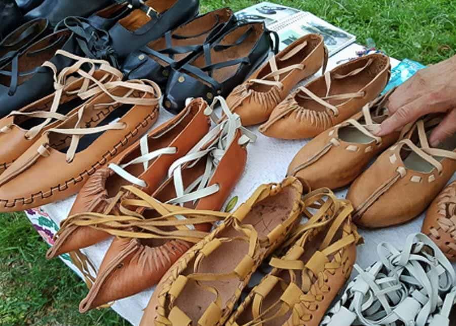 opinci - traditional peasant footwear in Romania
